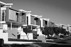 Black and white image of apartment buildings